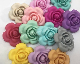 Silicone Rose Flowers Beads 40 mm Flower Teething Beads Necklace DIY Teething loose Pendant Necklace For Mom and Baby Making Baby Jewelry