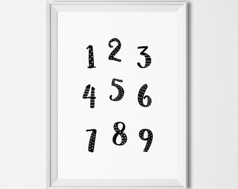 Printable numbers illustration, Educational printables, Monochrome numbers printable, Printable classroom decor , Educational wall art
