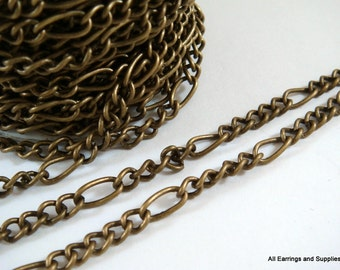 25ft Antique Bronze Mother Son Figaro Chain Not Soldered - 25 ft - STR9008CH-AB25