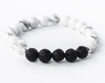 Essential Oils Bracelet | Oil Diffuser | White Howlite Gemstone | Lava Stone | Beaded Bracelet | Diffuse Bracelet | Healing Crystal Bracelet