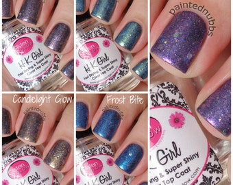 FULL SIZE Winter Is Coming Collection - Custom Interference Iridescent Glitter Topper Nail Polish