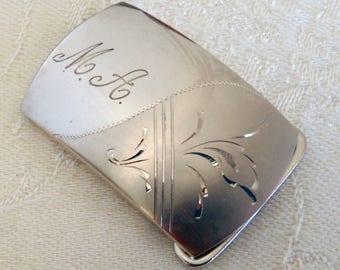 Vintage Belt Buckle Sterling Silver M. A. Monogram Marvel Co.