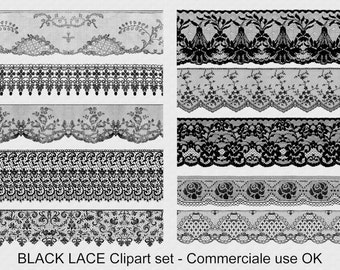 Black lace, digital download, instant download, lace clipart, scrapbooking lace, commercial use lace, scrap CU, vintage lace, lace png