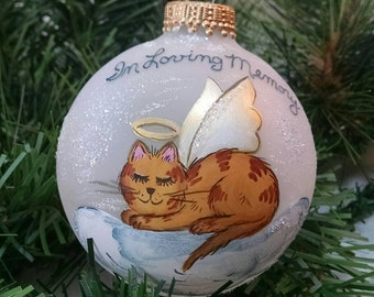 Cat Memorial Ornament, Cat Angel, Beloved Pet, Choice of, Handpainted Ornament, Cat on Cloud, Christmas Keepsake, Free Inscription