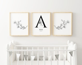 Personalised Nursery Print // Monochrome Nursery Art  // Baby Shower Gift // Girls Nursery Print // Name Print // Nursery Decor