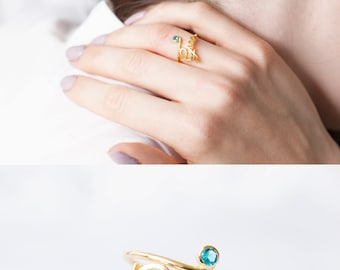 Birthstone Name Ring - Custom Name Ring with Birthstone - Name Ring - Diamond Name Ring - Birthday Ring