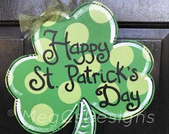 St. Patrick's Day Shamrock Door Hanger, Wood, Clover