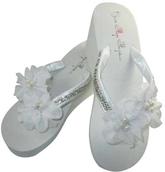 87148f10cb00 Bridal Rhinestone Bridal Flip White Bride Platform Flip Flip Heel Wedding  Ribbon Satin Pearl Ivory Flops ...