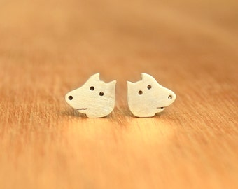 Tiny Dog stud Earrings- Sterling Silver - Dog lover gift