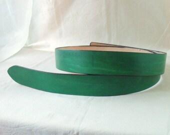 Leather belt green 4 cm