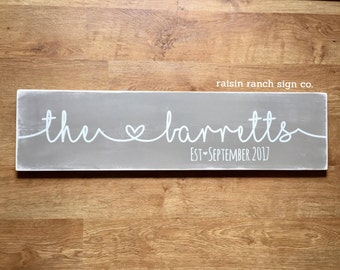 Extra Large Family Established Wooden Sign. Last Name and Established Date. Custom Wedding Sign. 3 feet by 10 inches. Made to Order