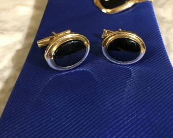 Vintage Cuff Links Sarah Coventry Black and Gold Tone