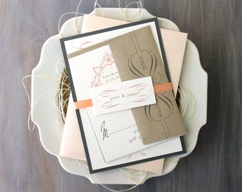 "Peach and Gray Wedding Invitations, Romantic Gray, Ivory, Elegant, Gold, Wedding Invites, Rustic Elegant - ""Peaches & Cream"" Deposit"