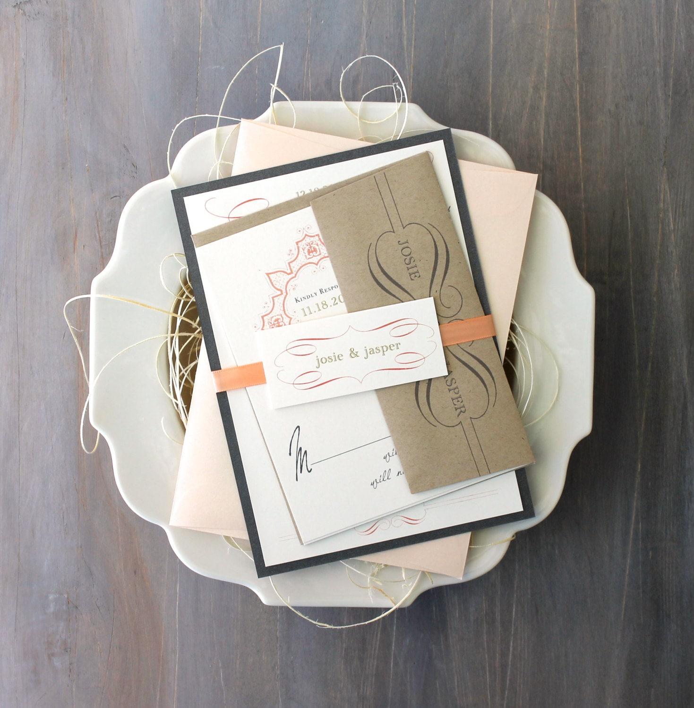 Peach and Gray Wedding Invitations Romantic Gray Ivory