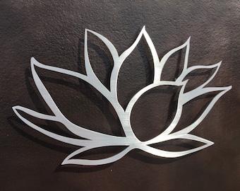 Brushed Lotus Flower Metal Wall Art - Lotus Metal Art - Home Decor - Metal Art - Wall Art - Small Wall Art -Silver Art - Metal Wall Decor