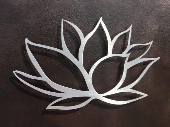 Brushed lotus flower metal wall art lotus metal art home decor metal art wall art small wall art silver art metal wall decor