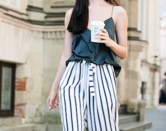 Striped cropped trousers Striped culottes Summer culottes Culotte pants Cotton trousers Summer trousers