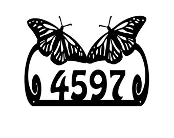 Monarch Butterfly Metal Address Sign*Metal House Number sign* Monarch Butterfly Metal Address Number Plaque*Metal Monarch Address Number