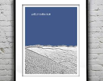 Adirondacks New York Poster Print Art Skyline NY