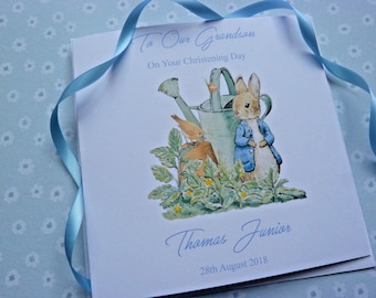 "Personalised Handmade Christening Naming Or Baptism Card  Peter rabbit   6"" Square"