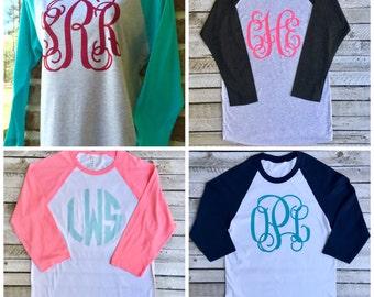 Monogram Raglan Shirt, Monogrammed Raglan T-shirt, Monogrammed Baseball T shirt, Monogrammed Three Quarter Sleeve T shirt
