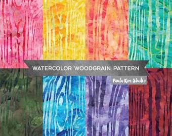 Pretty Watercolor Texture Woodgrain Digital Papers, Digital Scrapbook Backgrounds, Woodgrain Pattern Digital Paper
