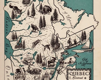 Pictorial Vintage QUEBEC Canada Picture Map of Quebec Canada Print 1940s Pictorial Map Travel Map Gallery Wall Art Home Decor
