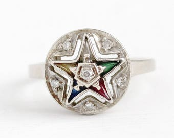 Vintage OES Ring - 14k White Gold Order of the Eastern Star Diamond Statement - 40s Size 6 Lab Created Colorful Stones Masonic Fine Jewelry