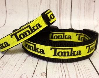 "Dog Collar, Tonka Truck Dog Collar, 1"" & 3/4"" wide Pets - Gift - Toy -"