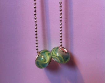 Set of 2 glass style lampwork beads, green
