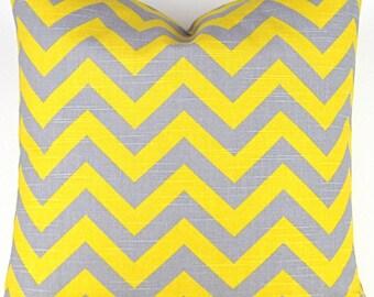 Yellow & Gray Chevron Floor Pillow -up to 28x28 inch- Big Zigzag Pillow, Grey Yellow Cushion, Zigzag Ash Gray Corn Yellow, Premier Prints