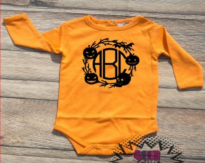 Halloween Monogram Tshirt Trick or treat Orange and black Youth Kid Child Unisex Cotton  t-shirt vinyl pumpkin spice fall autumn