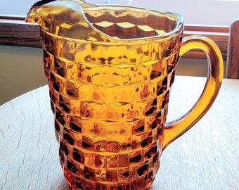 Indiana Glass Whitehall amber glass pitcher