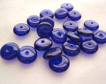 Beautiful Cobalt Blue Czech Glass Rondelles 8mm