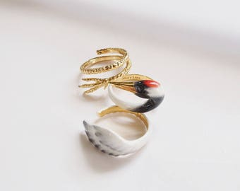 Red Crowned Crane Ring Set- Animal Jewelry  -Three pieces Ring Collection- Handmade Jewelry