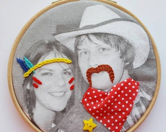 Photo Embroidery, embroidery hoop art, modern embroidery, fun gift,