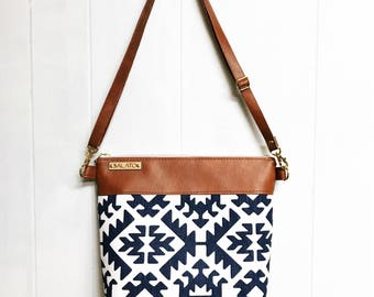 Faux Leather Crossbody Bag, Leather Crossbody Purse, Brown Faux Leather and Naxy Aztec Print Messanger Bag, Leather Messanger Bag, Gift