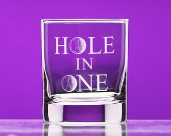 Hole in One whiskey glass - golf gift for her- golf gift for him - Golf Gift for Dad - Gift for Golfer - celebration gift - custom golf gift