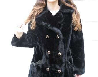 """Vintage 1970's Women's Black Fake Fur Coat by """"Sears"""" (#6)"""