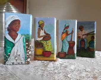 Painted Pavers, Gold Brick Series, Art For Gift, Paintings On Brick, Collectible  Art, African American Art, Paintings on Stone