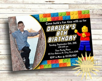 Lego Birthday Invitation - with Picture - Digital File - Landscape Orientation