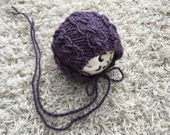 Newborn knit round back cable stitch bonnet,photo prop,gift idea,coming home,knit,crochet