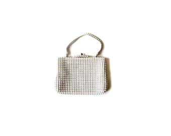 White Beaded Bag / Popcorn Texture Bag  / Women Bags Purses Clutches / Vintage Bags Purses