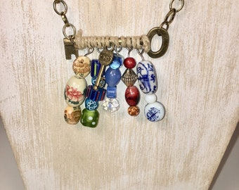 Eclectic gypsy vintage key beaded necklace, beaded skeleton key on antique style chain, eclectic beads on skeleton key, handmade