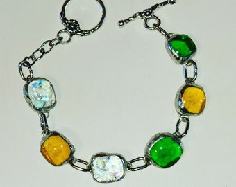 Murano glass in fusing glass green yellow dichroic fused glass bracelet