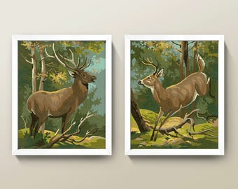 Vintage Paint-By-Numbers Deer Painting Set • 8x10 Prints • High Quality Giclée Prints! • Set of 2