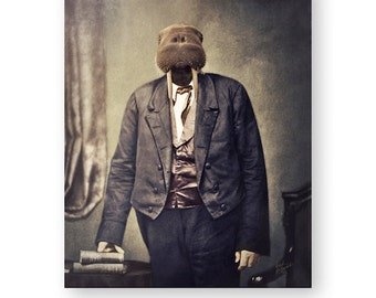 "Walrus Art Print Animal Art Anthropomorphic Wall Art Animals In Clothes Rustic Home Decor (3 Sizes Available) ""The Honorable Jeremiah Fritz"""