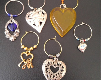Real Jewelry Hearts Collection Wine Charms