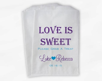 Love Is Sweet Grab a Treat Wedding Candy Buffet Treat Bags - Personalized Favor Bags in Purple and Turquoise - Custom Paper Bags (0078)