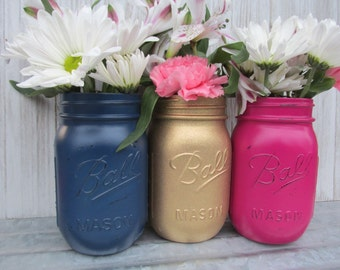 Painted Ball Mason Jars-Flower Vases- Metallic Gold Glitter, Navy and Hot Pink/Fuchsia - Distressed/Rustic/Wedding/Baby Shower/Centerpieces